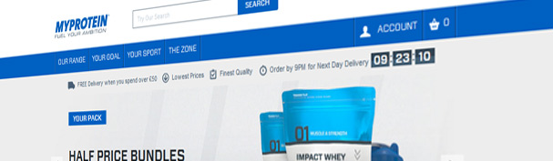 The Current Myprotein Homepage