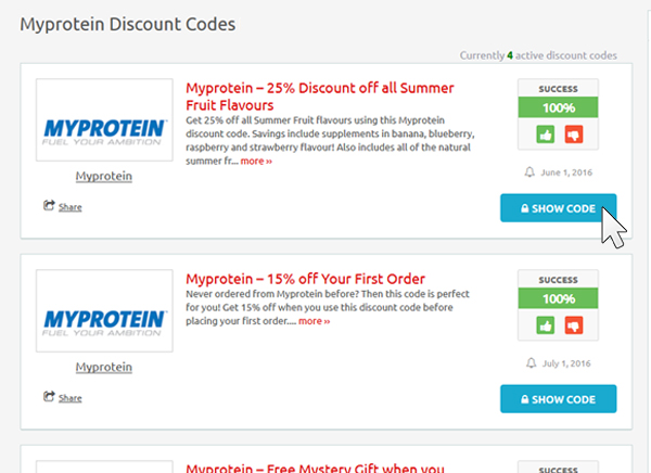 Click on the button to selec a Myprotein discount code