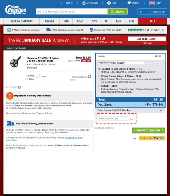 Screenshot of the Chain Reaction Cycles website, showing a discount of 49%