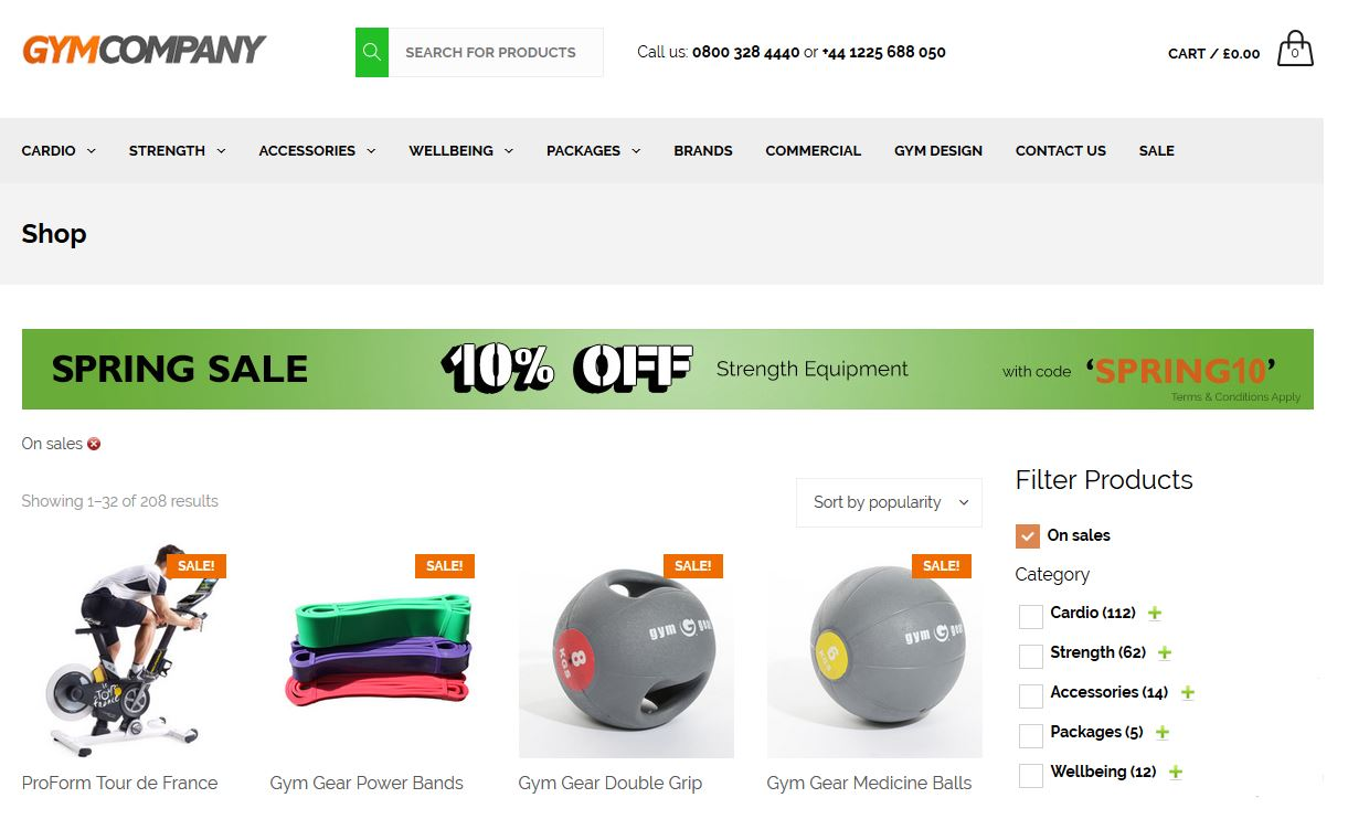 Check out the Gym Company sale section for some great deals