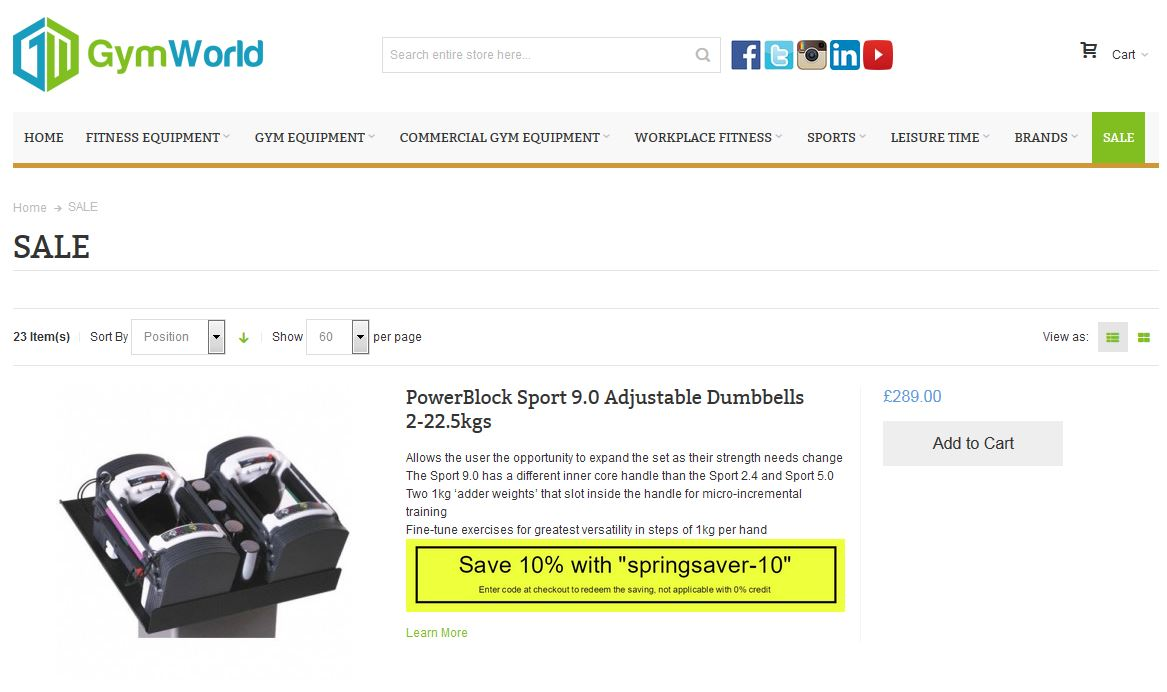 Check the Gym World sale section for current offers and promos