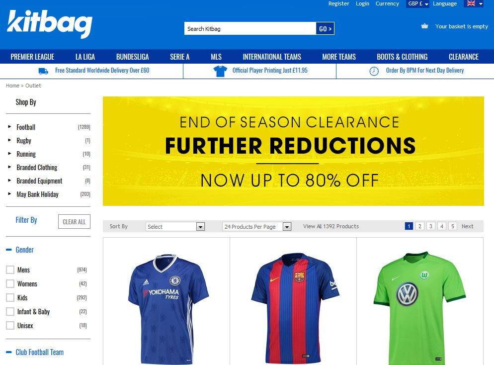 Check the Kitbag clearance section and save 10% on your order